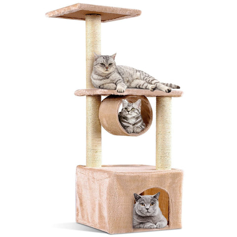 "37"" Cat Tree Condo Kitten Pet House with Scratch Post - Shop For Decor"
