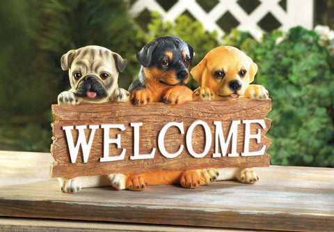 Puppy Dog Welcome Plaque - Shop For Decor
