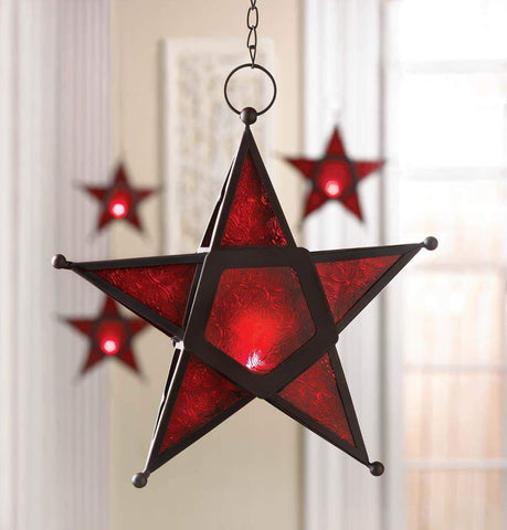 Red Glass Star Lantern - Shop For Decor