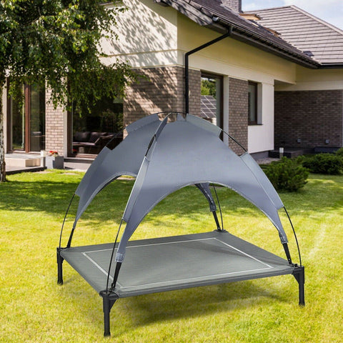 Portable Elevated Outdoor Pet Bed with Removable Canopy Shade - Shop For Decor