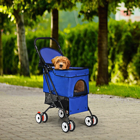 Folding Stroller For Dogs/Cats Pets - Blue or Pink - Shop For Decor