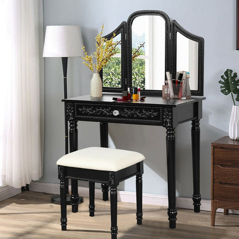 Vanity Dressing Makeup Table Set with Tri-Folding Mirror and Stool - 2 colors - Shop For Decor
