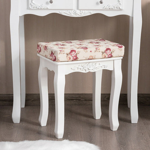 White Cushioned Vanity Stool / Piano Seat - Floral Print - Shop For Decor