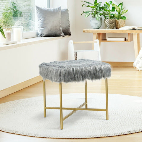 Faux Fur Ottoman Decorative Stool On Metal Legs - Gray Or White - Shop For Decor