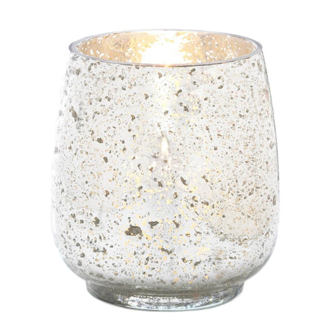 Silver Mercury Glass Hurricane Candle Holder (Large) - Shop For Decor