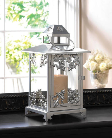 Silver Scrollwork Candle Lantern - Shop For Decor
