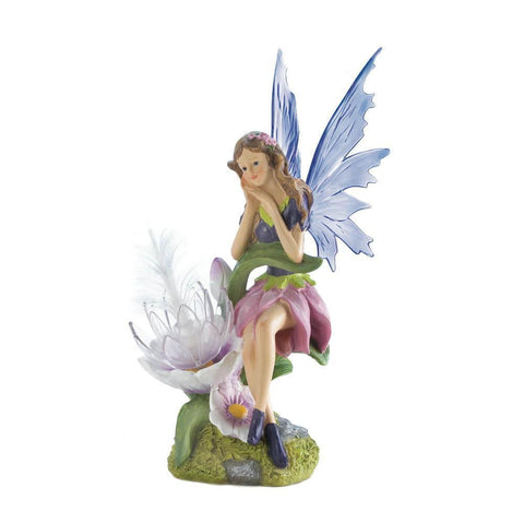 Solar Fairy With Flower Statue - Shop For Decor