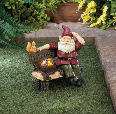Solar Gnome On Welcome Bench - Shop For Decor