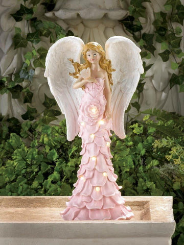 Solar Powered Pink Rose Angel Statue - Shop For Decor