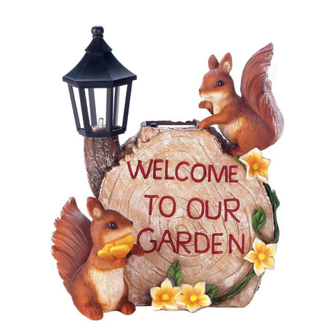 Solar Welcome To Our Garden Squirrels - Shop For Decor