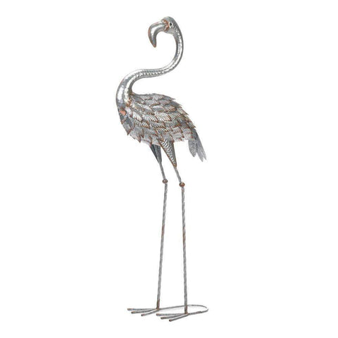Standing Tall Galvanized Flamingo Statue - Shop For Decor