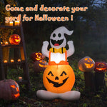 4.5' Halloween Inflatable Ghost in Pumpkin with Light - Shop For Decor