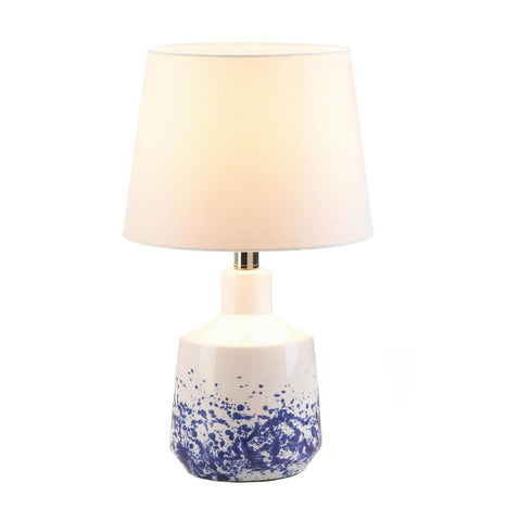 White & Blue Splash Table Lamp - Shop For Decor