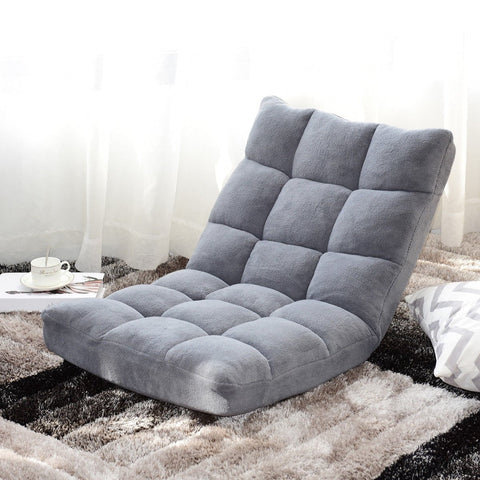 Adjustable 14-position Cushioned Floor Chair -Gray or Black - Shop For Decor