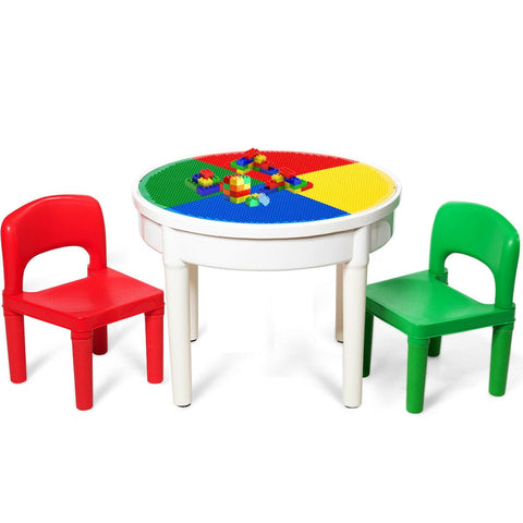 Activity Table and 2 Chairs 3-in-1 Kids Set 300 Bricks Included - Shop For Decor
