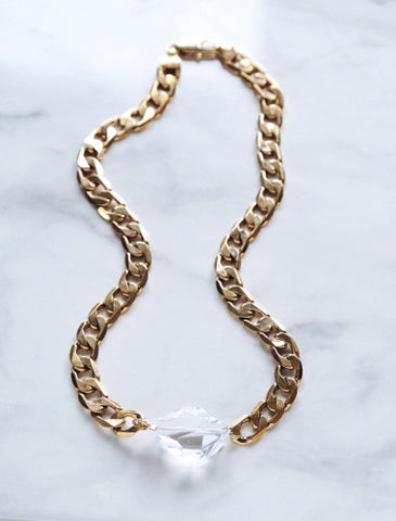 Clear Crystal Gold Chunky Choker by Cathy Pope