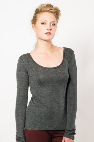 Merino Rib Scoop Neck Top