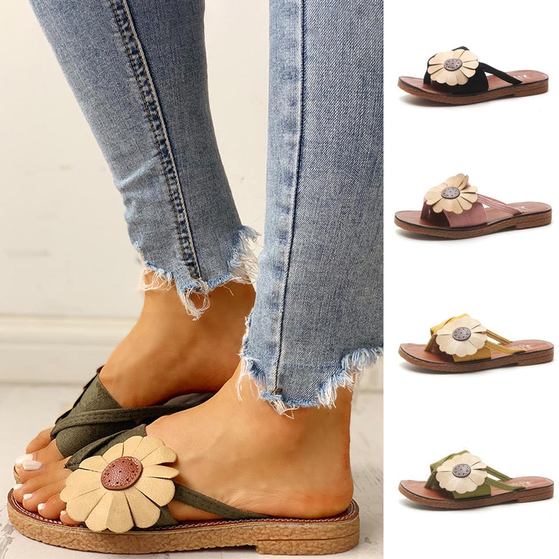 Mvstu ™ Toe Post Flower Design Flat Sandals