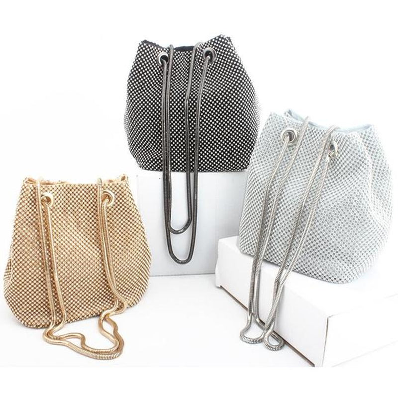 Elegant Rhinestone Bucket Bag