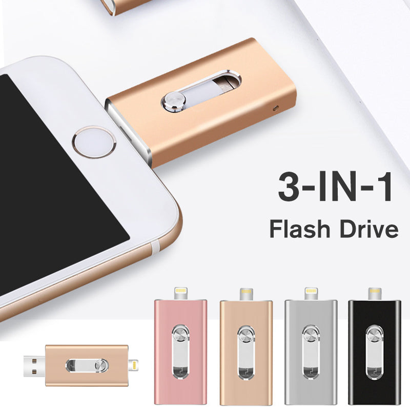 Push-And-Pull 3-in-1 Photostick Flash Drive