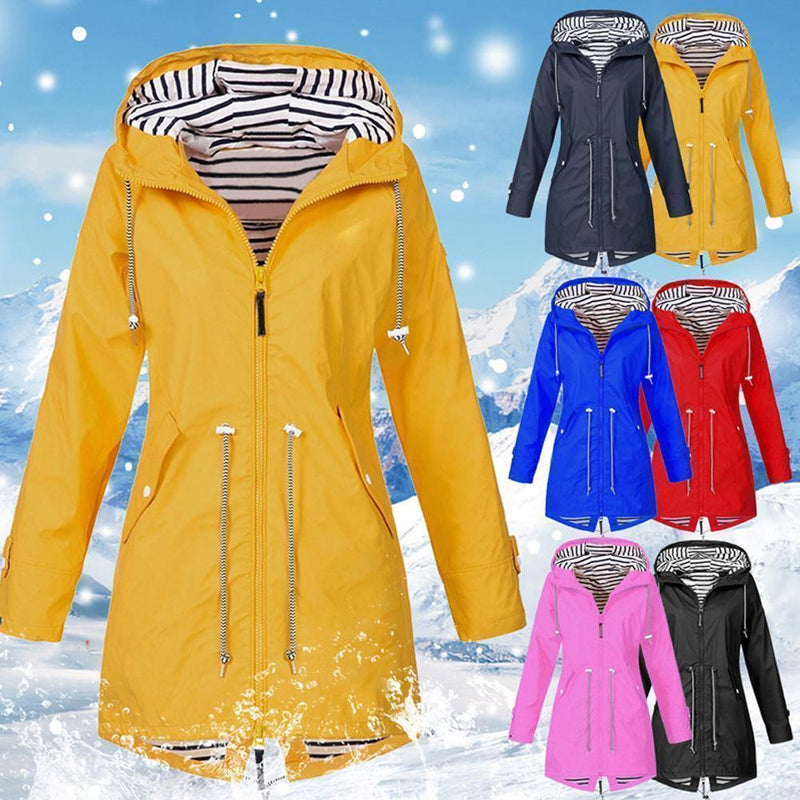 Long waterproof hooded jacket