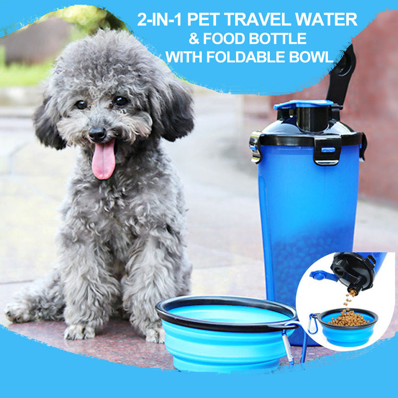 Mvstu™ 2-in-1 Pet Travel Water & Food Bottle with Foldable Bowl