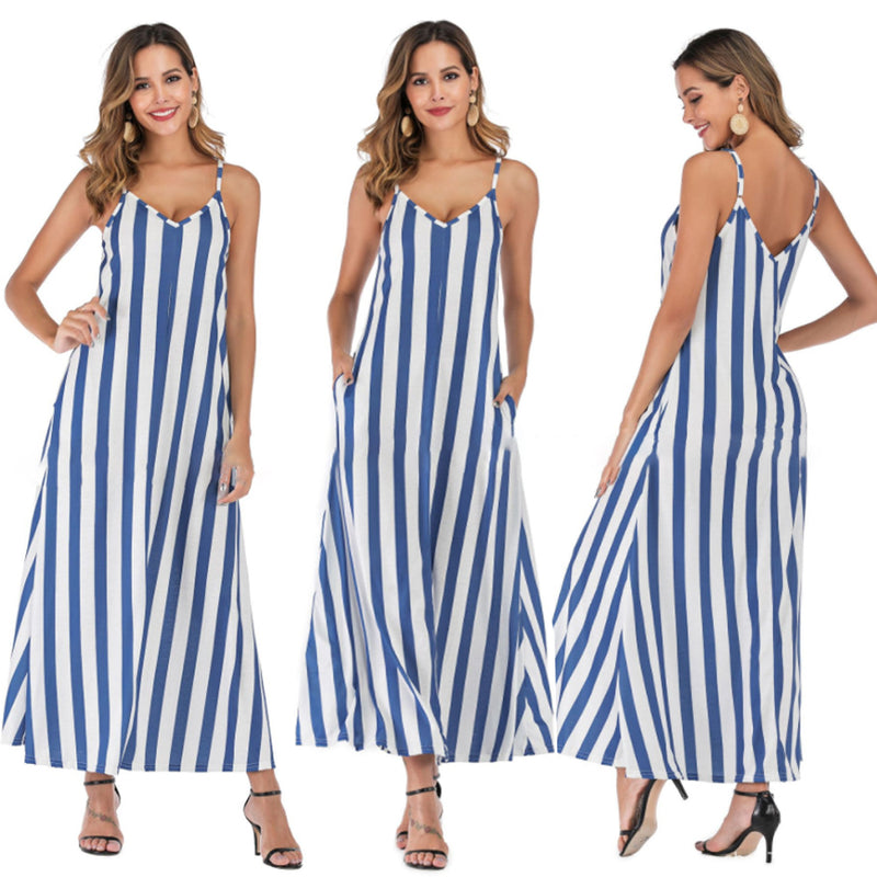 Mvstu™ Casual Striped Straps Overhead Summer Dress