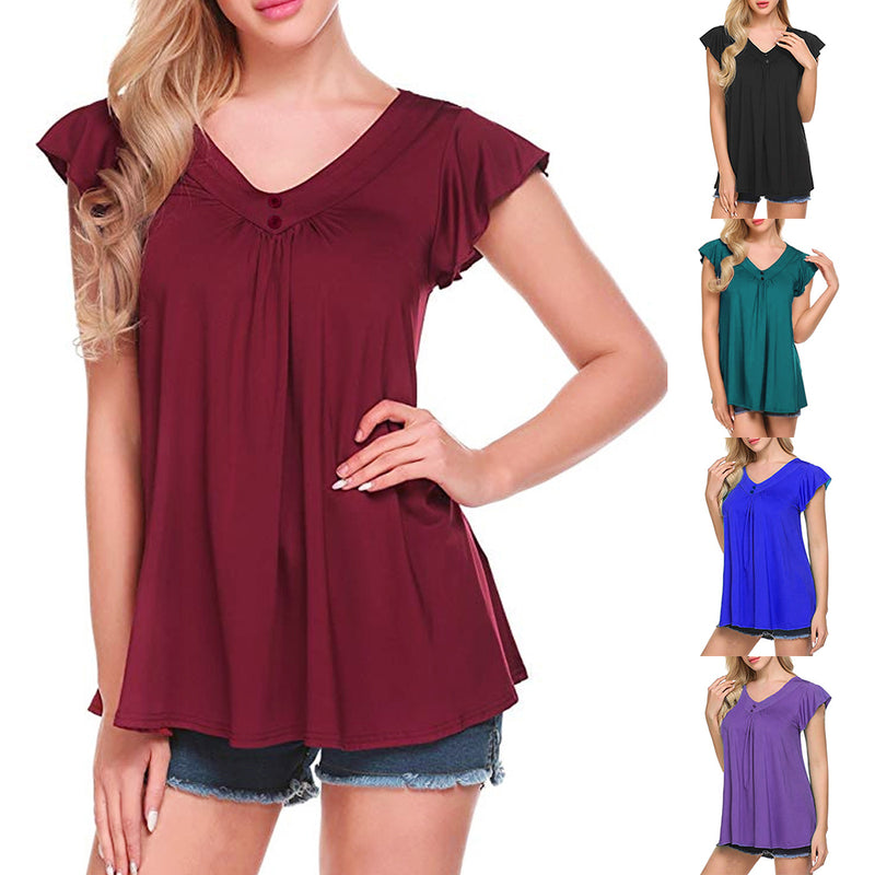 Mvstu ™ Women's V Neck Pleated Tunic Tops