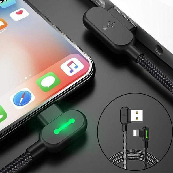 USB charging cable with 90 degree design for iOS and Android