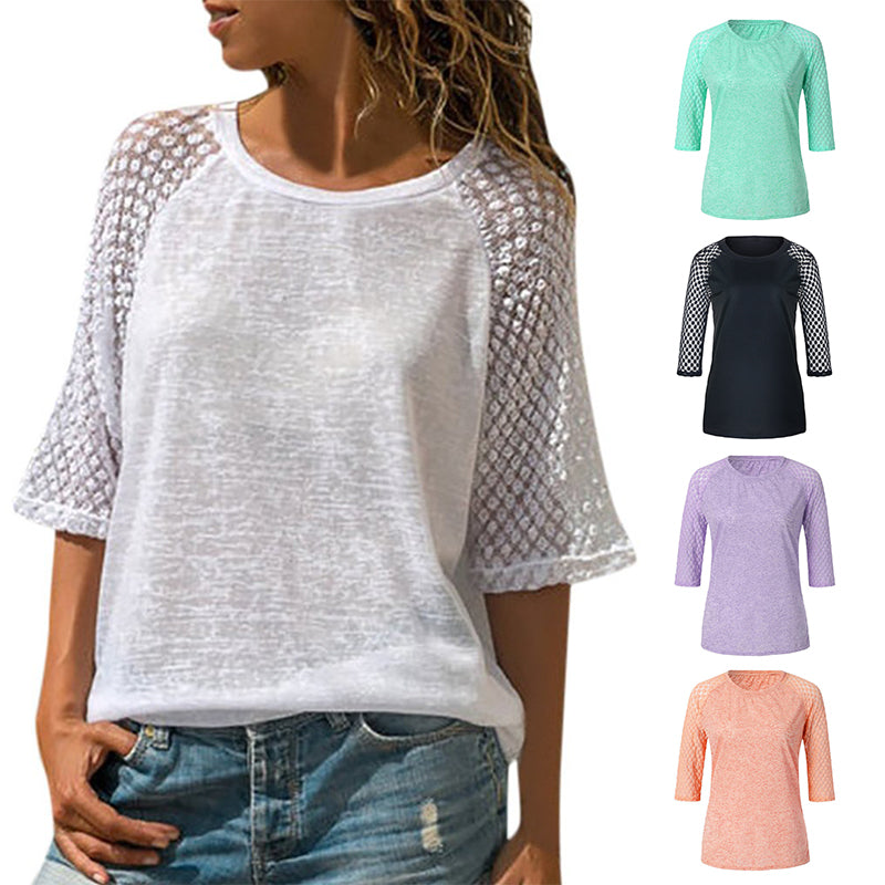 Mvstu ™ Lace Stitching Round Neck Cropped T-Shirt