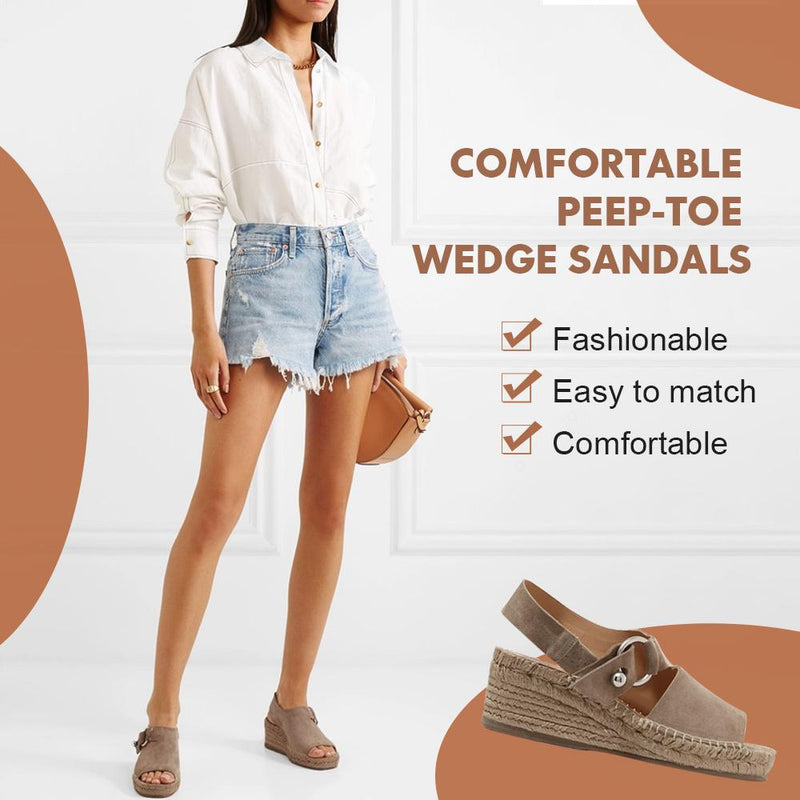 Comfortable Peep-toe Wedge Sandals