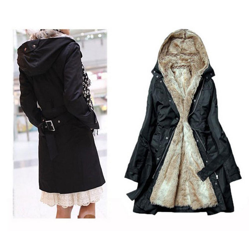 Ladies Winter Coat With Removable Faux Fur