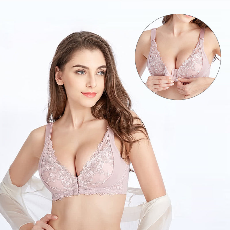 Women Sexy Adjustable Front Buckle Lace Vest Bra