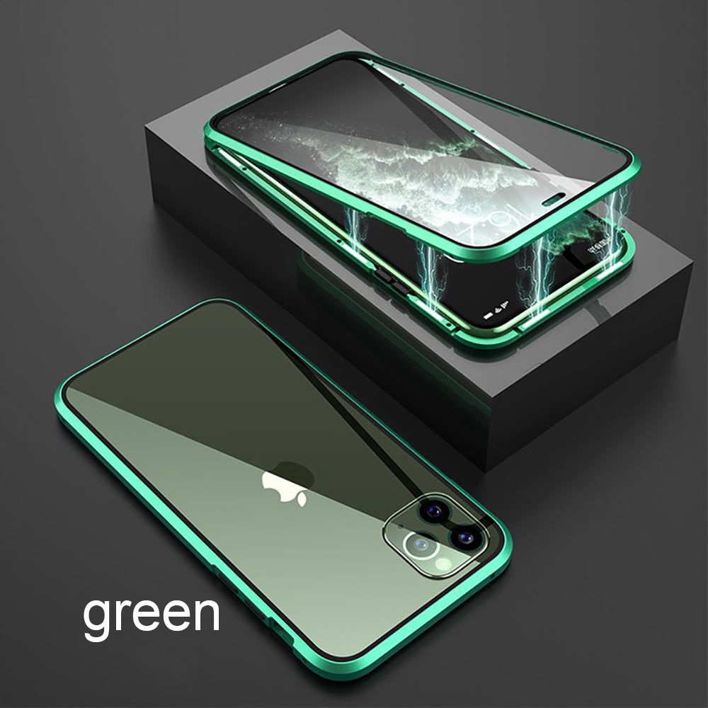Metal Magnetic Adsorption Glass Case For iPhone 11 / 11 Pro / 11 Pro MAX Double Sided