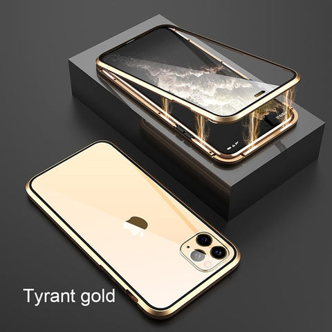 Image of Metal Magnetic Adsorption Glass Case For iPhone 11 / 11 Pro / 11 Pro MAX Double Sided