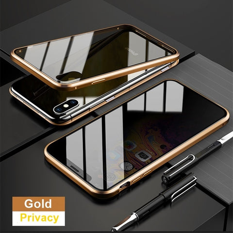 Privacy Anti-Spy Metal Magnetic Tempered Glass Case For iPhone XS XR X 6s 6 7 8 Plus 11 Pro MAX