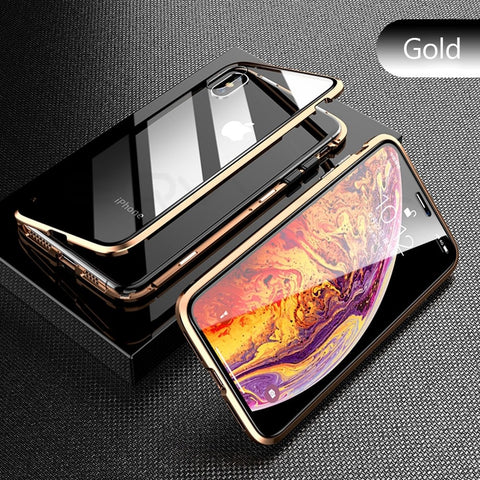 Gold Premium Luxury Metal Front/Back Tempered Transparent Glass Magnetic Case For iPhone XS MAX X XR 7 8 6 6 Plus