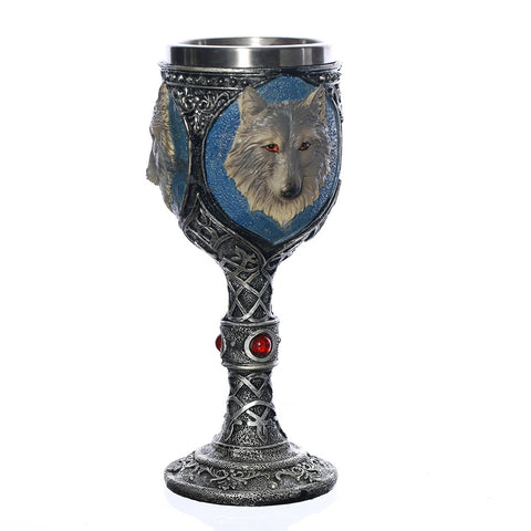 Image of Skull, Skeleton, Dragon, Knight, Medieval Goth Goblet