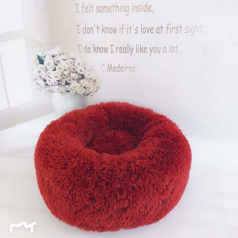 Image of Red Marshmallow Donut Cuddler Cat & Dog Super Soft Plush Bed (XS to XXL)