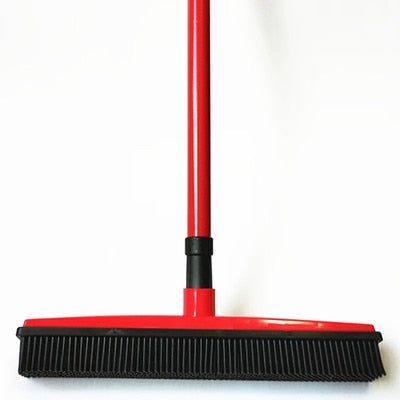 Image of Miracle Rubber Broom: Multi Purpose Rubber Bristle Broom & Squeegee For Pet Hair Removal From Floor & Carpet / Dust & Liquid RED