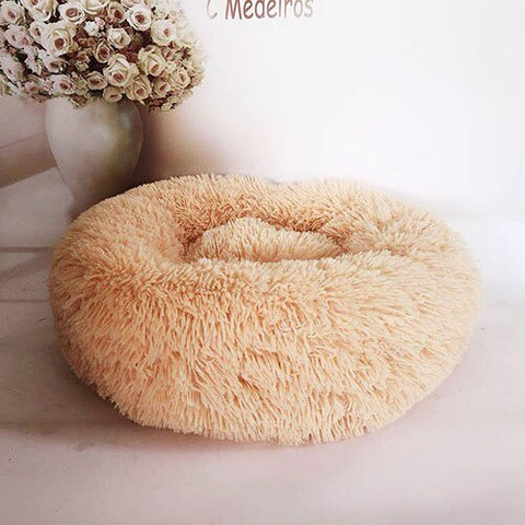 Cream Marshmallow Donut Cuddler Cat & Dog Super Soft Plush Bed (XS to XXL)