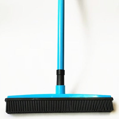 Miracle Rubber Broom: Multi Purpose Rubber Bristle Broom & Squeegee For Pet Hair Removal From Floor & Carpet / Dust & Liquid BLUE