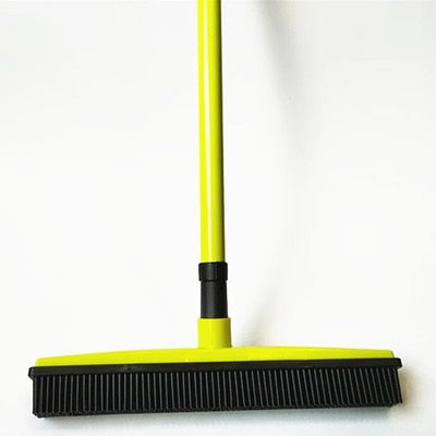 Miracle Rubber Broom: Multi Purpose Rubber Bristle Broom & Squeegee For Pet Hair Removal From Floor & Carpet / Dust & Liquid YELLOW