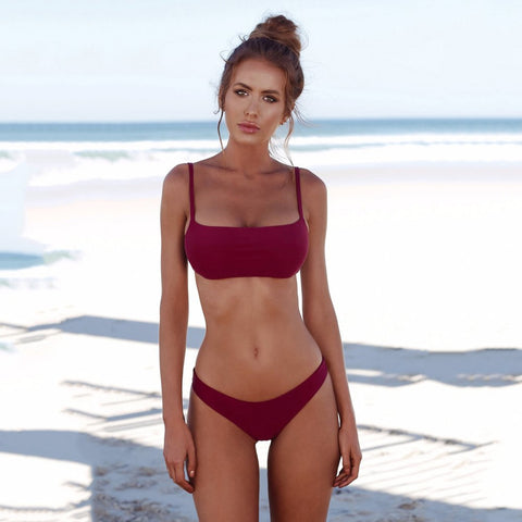 Image of Solid Color Bikini Set Push-up Bra (USA only)