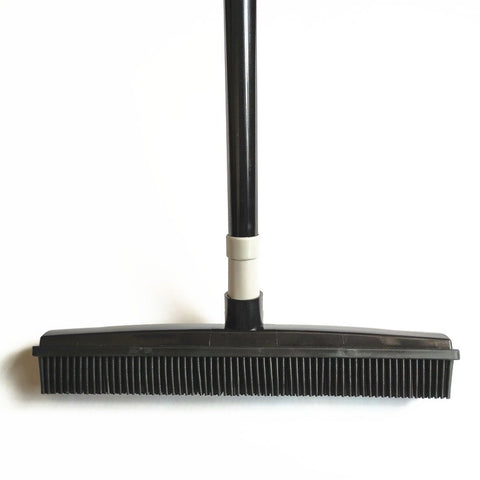 Miracle Rubber Broom: Multi Purpose Rubber Bristle Broom & Squeegee For Pet Hair Removal From Floor & Carpet / Dust & Liquid BLACK