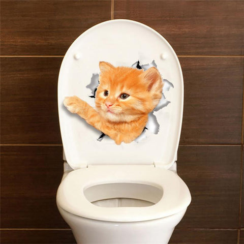 Image of Cat 3D PVC Stickers for Bathroom Toilets, Kitchen Cabinets / Refrigerators,  Decorative Decals - ShopInTheNude.com