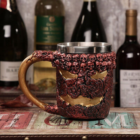 Image of Skull, Skeleton, Dragon, Wolf Mugs! For Beer or Coffee. Stainless Steel and Resin / Glass.