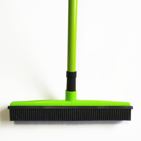Image of Miracle Rubber Broom: Multi Purpose Rubber Bristle Broom & Squeegee For Pet Hair Removal From Floor & Carpet / Dust & Liquid GREEN