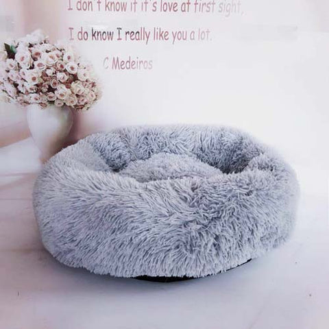 Light Grey Marshmallow Donut Cuddler Cat & Dog Super Soft Plush Bed (XS to XXL)