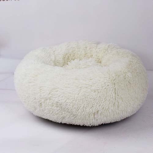 White Marshmallow Donut Cuddler Cat & Dog Super Soft Plush Bed (XS to XXL)